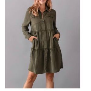 Elliott & Vine Olive tiered shirt dress size L nwt